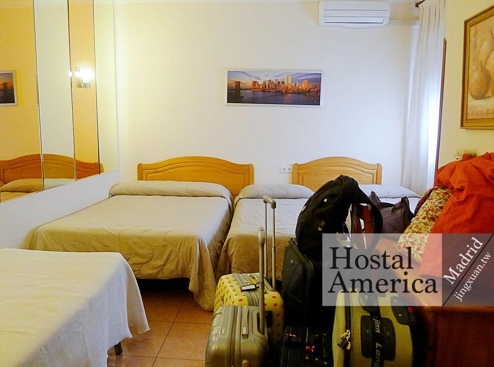 [西班牙遊記] Hostal America 美洲旅館-馬德里住宿 平價旅館 五人房小而五臟俱全 近格蘭大道及西北萊斯廣場 機場巴士起訖站 地理位置優