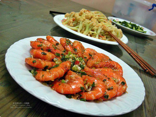 [家常葷食班3]油爆蝦、清炒鮮蔬、涼拌小黃瓜.Sauteed Prawn, Fried Vegetables and Cucumber Salad